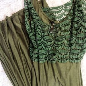 Army green Lace Maxi Dress - Super Soft!